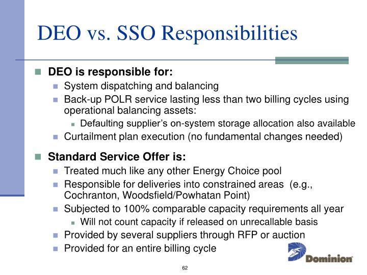 DEO vs. SSO Responsibilities