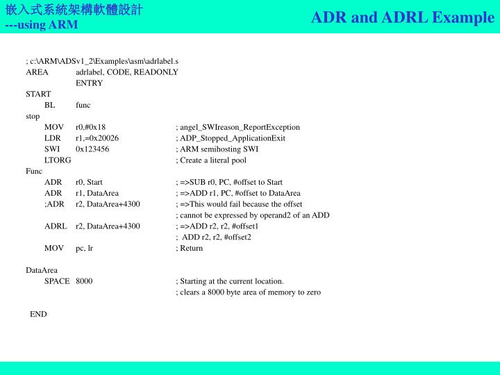 ADR and ADRL Example
