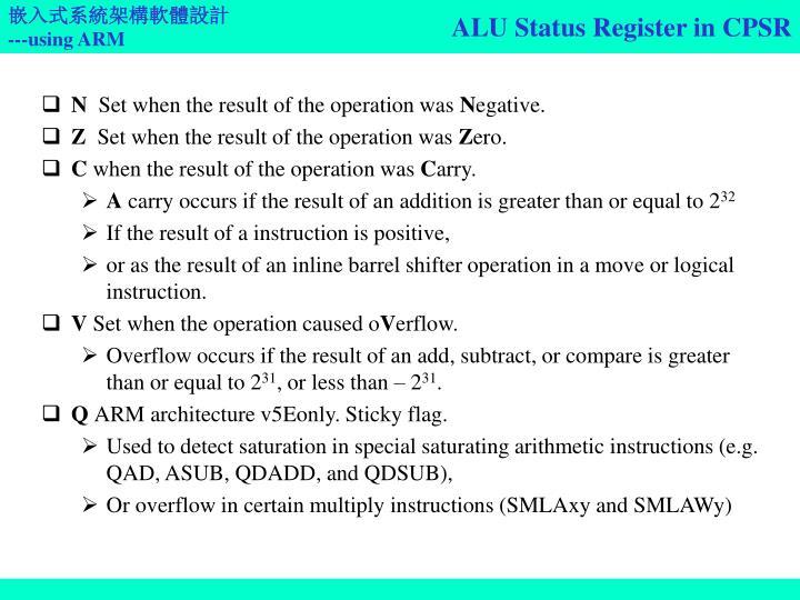 ALU Status Register in CPSR