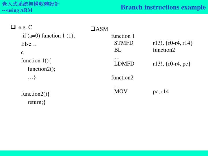 Branch instructions example
