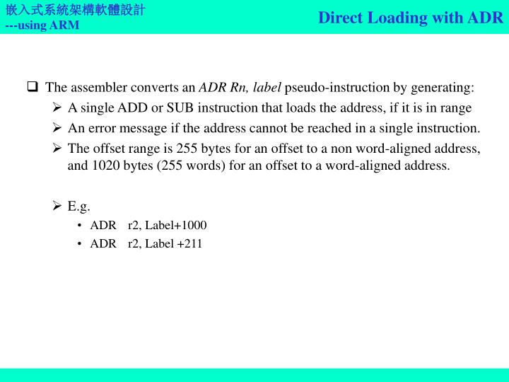 Direct Loading with ADR