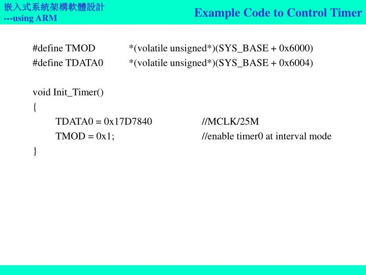 Example Code to Control Timer