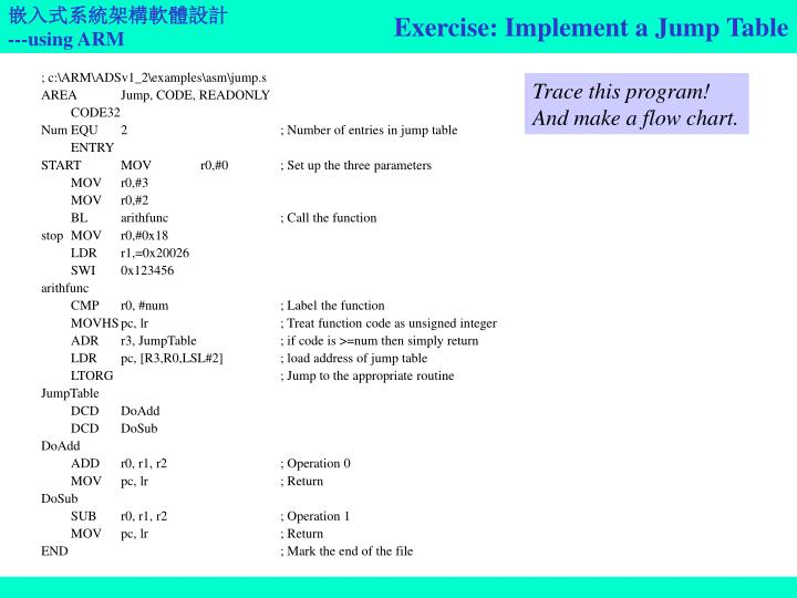 Exercise: Implement a Jump Table