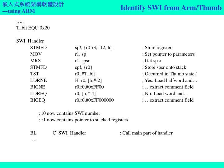 Identify SWI from Arm/Thumb