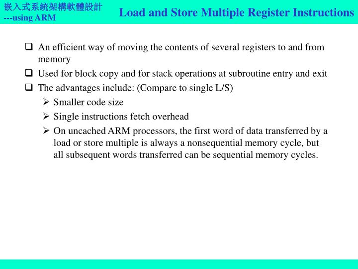 Load and Store Multiple Register Instructions