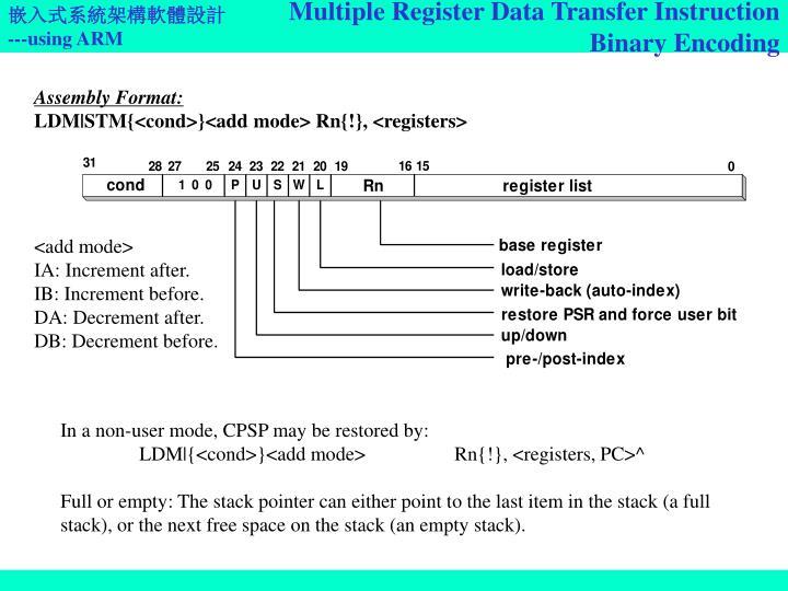 Multiple Register Data Transfer Instruction Binary Encoding