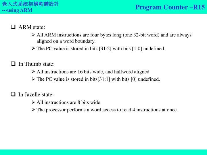Program Counter –R15