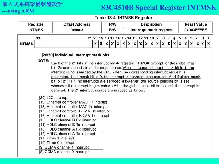 S3C4510B Special Register INTMSK