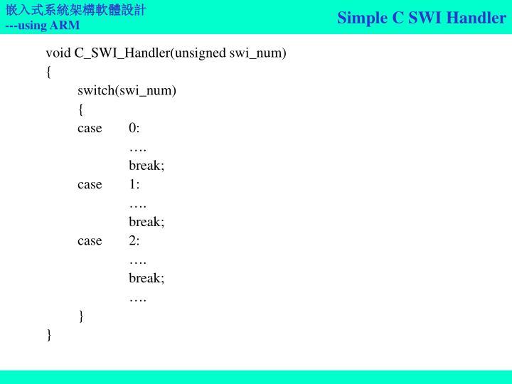 Simple C SWI Handler