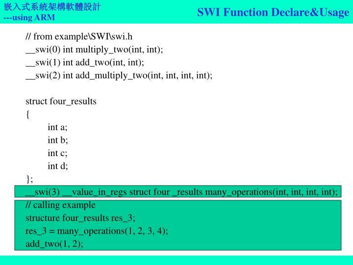 SWI Function Declare&Usage