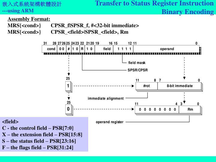 Transfer to Status Register Instruction
