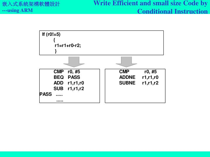 Write Efficient and small size Code by Conditional Instruction