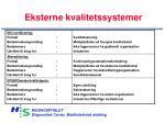 eksterne kvalitetssystemer