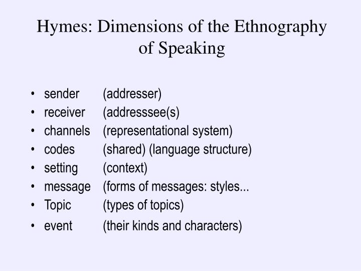 Hymes: Dimensions of the Ethnography of Speaking