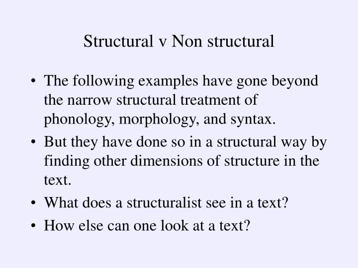 Structural v Non structural