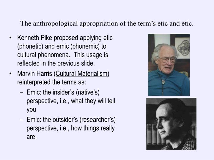 The anthropological appropriation of the term's etic and etic.