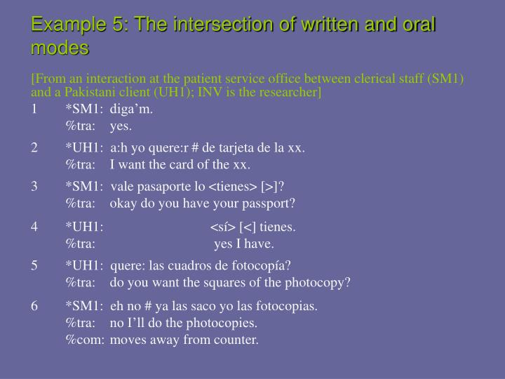 Example 5: The intersection of written and oral modes