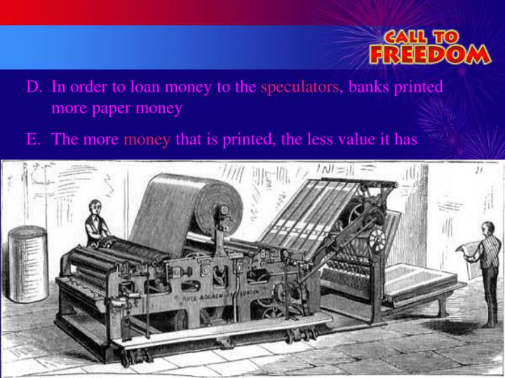In order to loan money to the