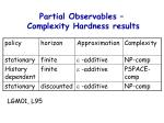 partial observables complexity hardness results