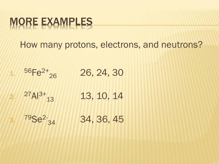 How many protons, electrons, and neutrons?