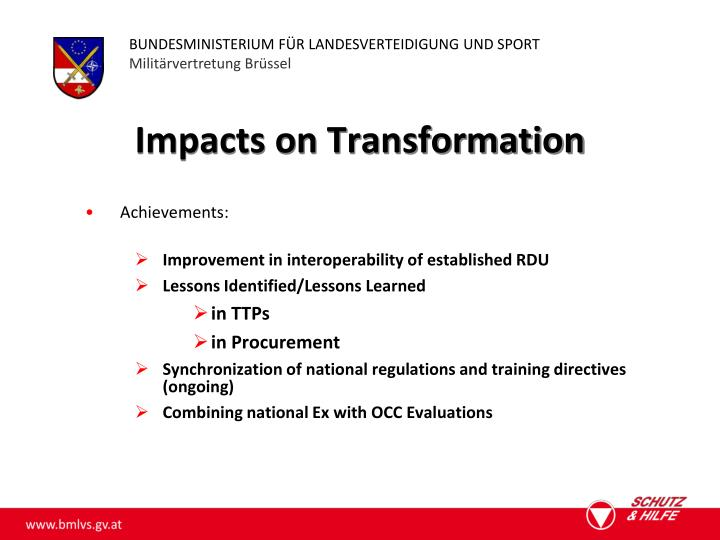 Impacts on Transformation