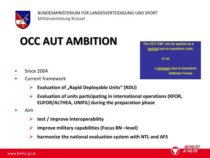 Occ aut ambition