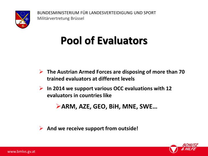 Pool of Evaluators