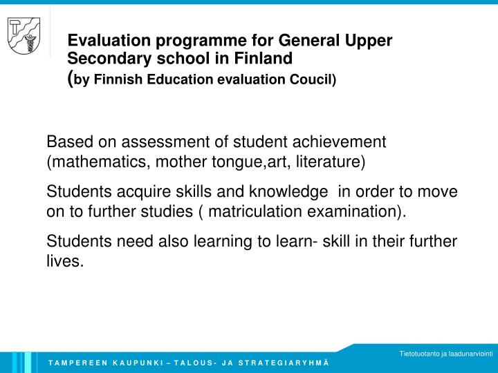 Evaluation programme for General Upper Secondary school in Finland