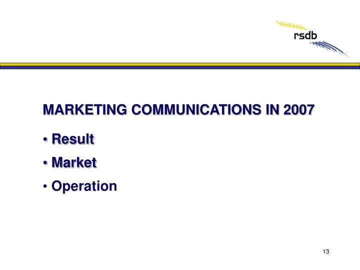 MARKETING COMMUNICATIONS IN 2007