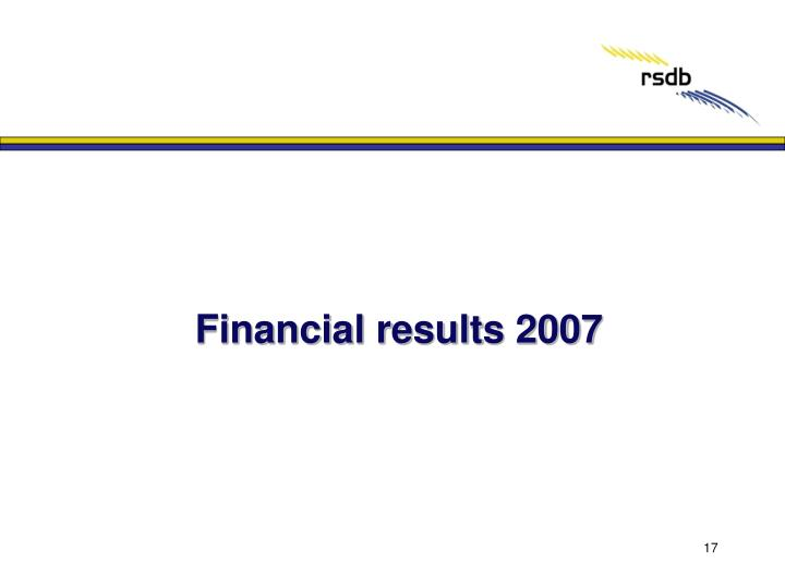 Financial results 2007