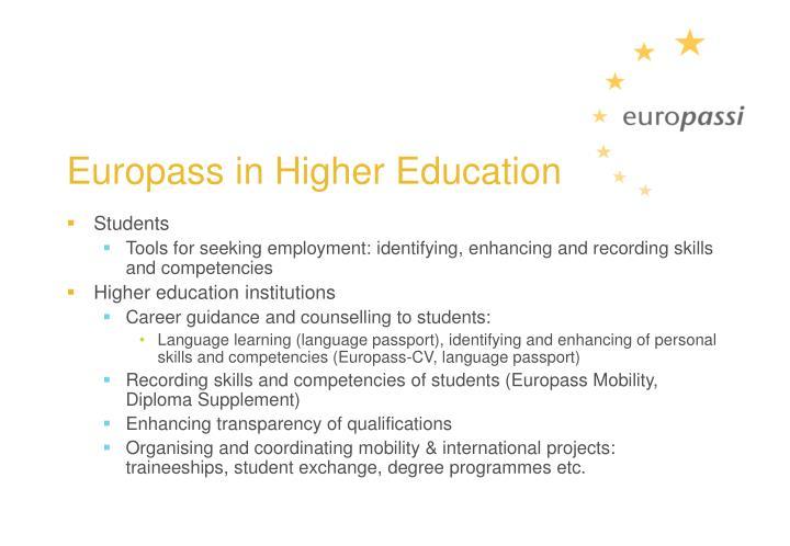 Europass in Higher Education