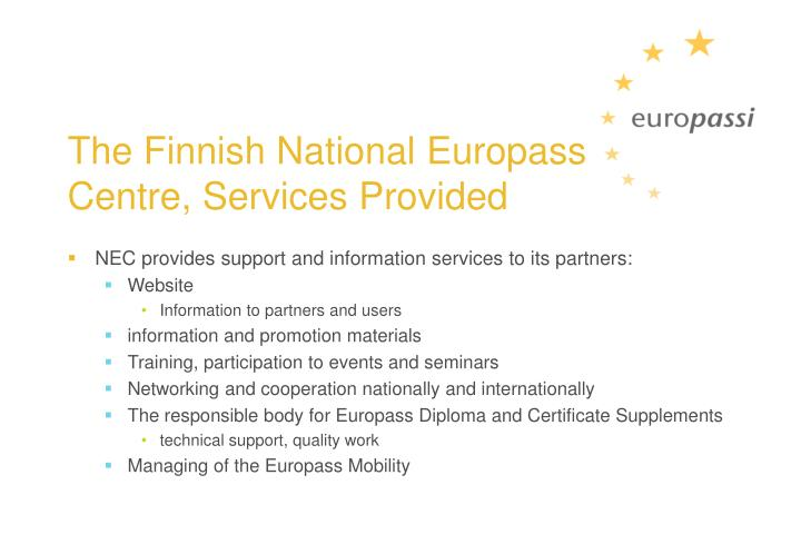 The Finnish National Europass Centre, Services Provided