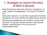 1 strategies to convert the entry of mln in burundi