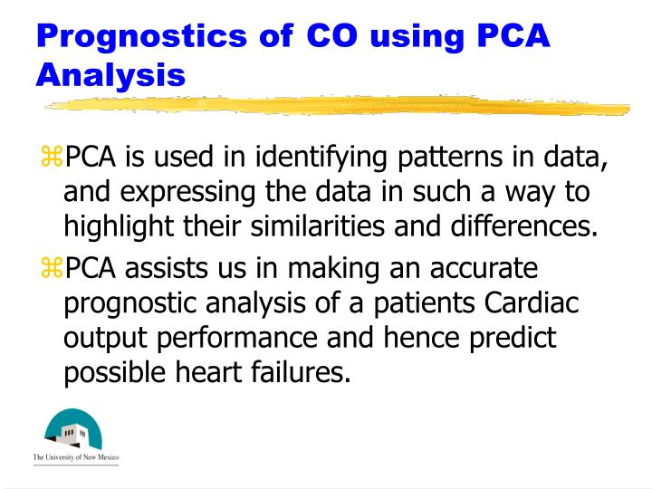 Prognostics of CO using PCA Analysis