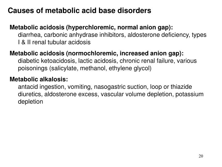 Causes of metabolic acid base disorders