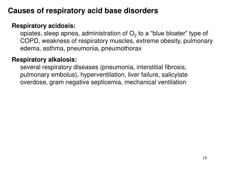 Causes of respiratory acid base disorders
