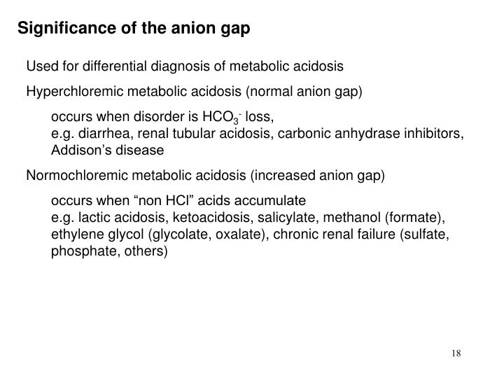 Significance of the anion gap