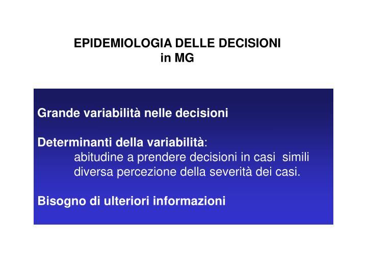 EPIDEMIOLOGIA DELLE DECISIONI