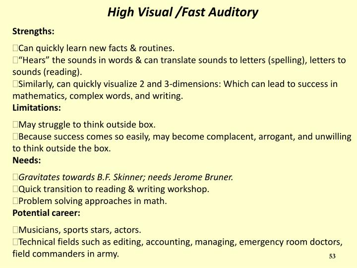High Visual /Fast Auditory