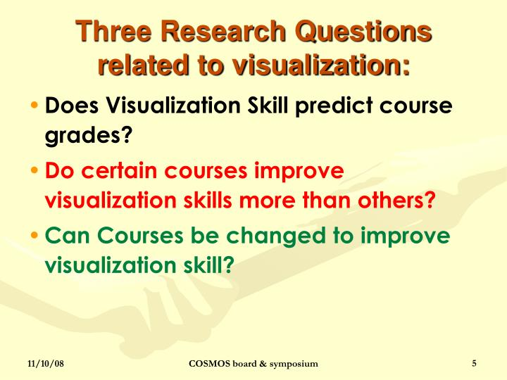 Three Research Questions related to visualization:
