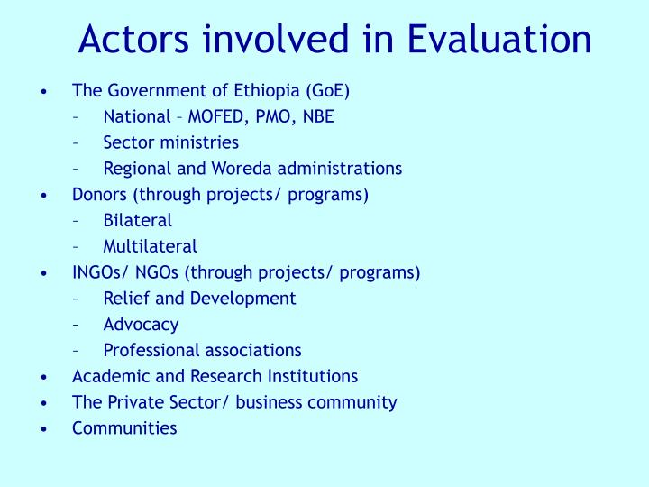 Actors involved in Evaluation
