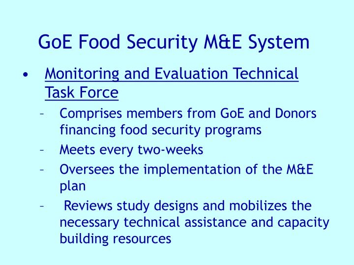 GoE Food Security M&E System