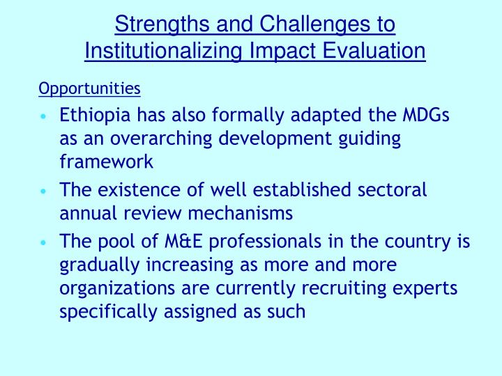 Strengths and challenges to institutionalizing impact evaluation1