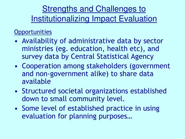 Strengths and Challenges to