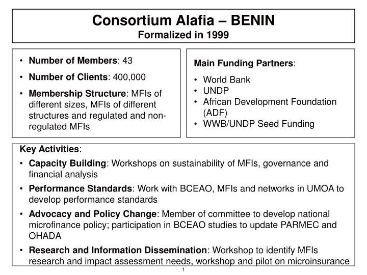 consortium alafia benin formalized in 1999 n.