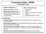 consortium alafia benin formalized in 1999