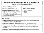 micro enterprise alliance south africa created in 1994 formalized in 2001