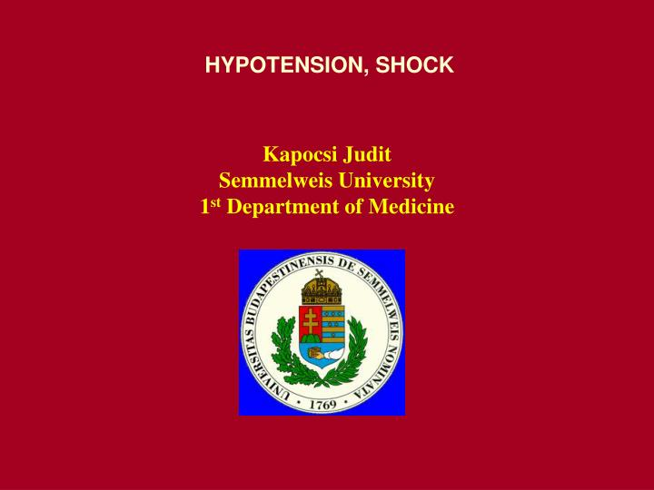 hypotension shock n.