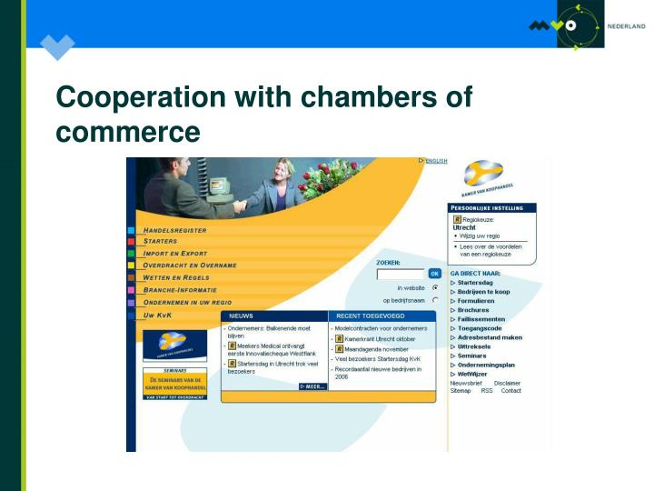 Cooperation with chambers of commerce