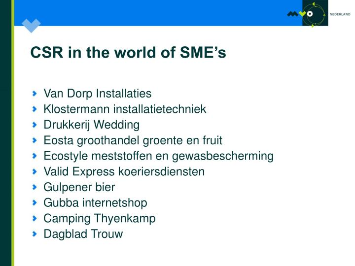 CSR in the world of SME's